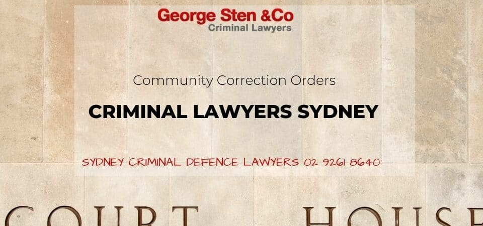 Community Correction Order NSW - George Sten & Co